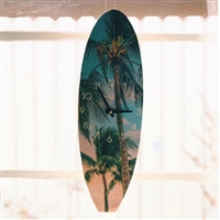 Timberwave Surfboard Shaped Clock With Tropical Palm Tree