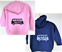 Super soft infant Vw  peace bus zip sweatshirt  features the Surfer Dude Super soft kids Vw  peace bus pullover