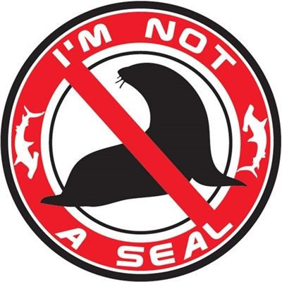 "5"" diameter vinyl sticker ""shark deterrent."" Shows sharks that the surfer or standup paddler on the board is not a seal and says ""I'm Not a Seal."" Slap one on your board and stay safe in the water! Disclaimer: some sharks may not be able to..."