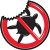 "5"" diameter vinyl sticker ""shark deterrent."" Shows sharks that the surfer or standup paddler on the board is not a turtle. With shark bite. Slap one on your board and stay safe in the water. Disclaimer: some sharks may not be able to..."