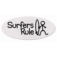 "Cool oval Surfers Rule stick figure stickers. Clear vinyl. They measure 7"" x 3"". Shipping cost included in price...."