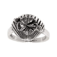 "The Hibiscus flower has been used around the world for its medicinal properties for centuries and , while we don't recommend ingesting our Beachcomber ring to cure what ails you, wearing it can look pretty cool. Approx size: .5 "" tall x .5 ""..."
