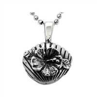 "This beautiful hand-carved jewelry pendant features a perfect shell you might find walking on the beach alongside colorful hibiscus flower. Size: .5"" x .5"". 																																					 100% Handcarved .925 Sterling..."