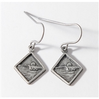 Diamond Curl Womens Pewter Surf Earrings by Strickly Boarding