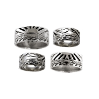 The sun either rising or setting over the ocean, depending on how you want to wear it.  100% Handcarved .925 Sterling Silver Made in Carlsbad, California USA The Undisputed Leader in Custom Surf...