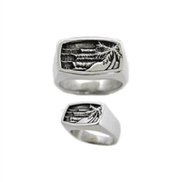 Holiday Mens Sterling Silver Surf Ring by Strickly Boarding