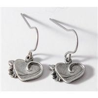 Hearts Womens Pewter Surf Earrings by Strickly Boarding