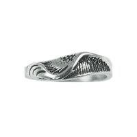 Leftastic Mens Sterling Silver Surf Wave Ring by Strickly Boarding