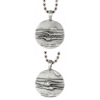 Lefts Rights Sterling Silver Surf Pendant by Strickly Boarding
