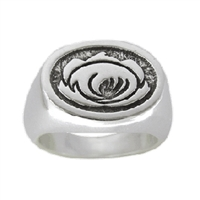Lotus Mens or Womens Sterling Silver Surf Ring by Strickly Boarding