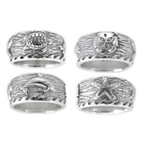 Sea Life Womens Sterling Silver Surf Ring by Strickly Boarding