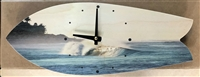 Classic Fish Shap Surfboard Clock with cool barreling wave print