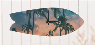 Classic Fish Shape Surfboard Clock Palm Trees print