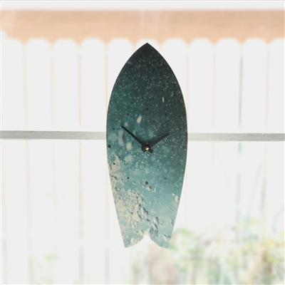 Vertical or Horizontal Classic Fish Surfboard Clock with cool under wave picture