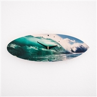 Surfboard Clock with cool barreling wave print