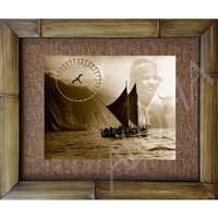 """Homage to Eddie Aikau"" Original Hokulea, Sun dial with Ewa bird. Circa 1970's. Matted in a Natural Grass Mat and framed in a handmade Natural Bamboo Frame. Bamboo Frame is hand sanded and stained twice. Handmade in the USA. Dimensions; Print 11"" x..."