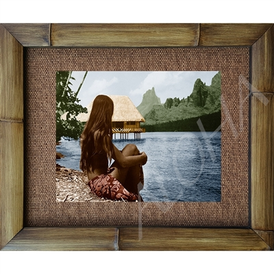 """Girl over Bay"" Cooks Bay, Moorea. Circa 1950's. Hand tinted.Matted in a Natural Grass Mat and framed in a handmade Natural Bamboo Frame. Bamboo Frame is hand sanded and stained twice. Handmade in the USA. Dimensions; Print 11"" x 14"", Natural Grass..."