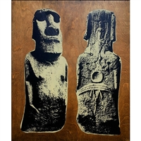 Birdman, Moai Statue  Easter Island. Hand pulled silkscreen Birdman Moai, front and back, back shows bird patterns, rare image. Easter Island. Great colors, Light Yellow acrylic paint, Black ink, wood grain. Handpulled silkscreen on Birch wood panel....
