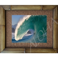"""Pipeline"" Color photograph, Pipline Wave, North Shore, Oahu, Hawaii. Matted in a Natural Grass Mat and framed in a handmade Natural Bamboo Frame. Bamboo Frame is hand sanded and stained twice. Made in California, USA. Dimensions; Print 11"" x 14"",..."