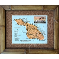 """Catalina Map"" Circa 1920's. Great trail and Island location descriptions. Matted in a Natural Grass Mat and framed in a handmade Natural Bamboo Frame. Bamboo Frame is hand sanded and stained twice. Handmade in the USA. Dimensions; Print 11"" x 14"",..."
