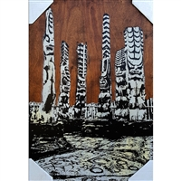 Alter with Tikis, City of Refuge. Big Island, Hawaii. Beautiful image from photograph of the alter, surrounded by all of the dominate Hawaiian Gods, foreground shows ancient Hawaiian Petroglyphs. Acrylic colors, Yellow and Grey. Handpulled silkscreen...