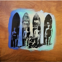 Vintage Duke Kahanamoku 15 years old & Friends. Classic line up of Duke Kahanamoku, his brother Sam, Pua Kealoha and a unidentified friend. Circa 1904. Blue, Mint Green and Yellow acrylic paint. Handpulled silkscreen over acrylic paint on Birch wood...