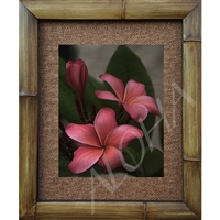 """Vintage Pink"" Plumeria Art Print. Beautiful  photogrpah of three plumeria's, antique feel.  Matted in a Natural Grass Mat and framed in a handmade Natural Bamboo Frame. Bamboo Frame is hand sanded and stained twice. Made in California, USA...."