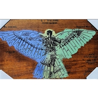 "Flying Machine 1889. Very cool hand pulled silkscreen of a flying machine patent filing circa 1889. Acrylic colors are Mint Green and Aqua Blue over wood grain. Handpulled silkscreen on Birch wood panel. Original, signed by the artist. Dimensions: 2""..."