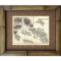 """Tahiti"" Map. Paris, Circa 1930's. Matted in a Natural Grass Mat and framed in a handmade Natural Bamboo Frame. Bamboo Frame is hand sanded and stained twice. Handmade in the USA. Dimensions; Print 11"" x 14"", Natural Grass Mat 16"" x 20"", Natural..."