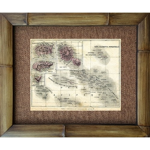 Tahiti Map Paris 1930 Vintage Bamboo Framed Art Print on vintage map of southeast asia, vintage map of costa rica, vintage map of caribbean,