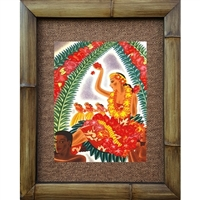 """Stringing Lei"" Matson Menu, Frank McIntosh Circa 1940's. Matted in a Natural Grass Mat and framed in a handmade Natural Bamboo Frame. Bamboo Frame is hand sanded and stained twice. Handmade in the USA. Dimensions; Print 11"" x 14"", Natural Grass Mat..."