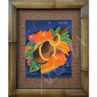 """Aloha Ukelele"" Matson Menu, Frank McIntosh Circa 1940's. Matted in a Natural Grass Mat and framed in a handmade Natural Bamboo Frame. Bamboo Frame is hand sanded and stained twice. Handmade in the USA. Dimensions; Print 11"" x 14"", Natural Grass Mat..."