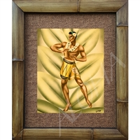 """Drummer Boy"" Eric Gill Classic Hawaiian Art, Circa 1940's. Matted in a Natural Grass Mat and framed in a handmade Natural Bamboo Frame. Bamboo Frame is hand sanded and stained twice. Handmade in the USA. Dimensions; Print 11"" x 14"", Natural Grass..."