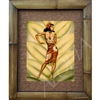 """Hula Dancer"" Eric Gill Classic Hawaiian Art, Circa 1940's. Matted in a Natural Grass Mat and framed in a handmade Natural Bamboo Frame. Bamboo Frame is hand sanded and stained twice. Handmade in the USA. Dimensions; Print 11"" x 14"", Natural Grass..."