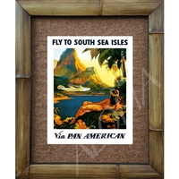 """Fly to the South Seas"" Classic Pan American Airlines Art Print. Great image of a China Clipper landing inthe bay, Moorea, Tahiti. A Tahitian girl on a hillside in the foreground. Great colors. Matted in a Natural Grass Mat and framed in a handmade..."