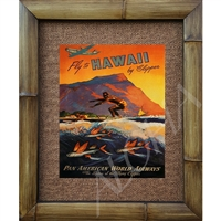 """Fly to Hawaii"" Classic Pan American Airlines Art Print. Awesomre image of a surfer in Waikiki, Diamondhead in the bcakground with several flying fish jumping in the foreground. Great colors. Vintage Hawaiian Art Print. Matted in a Natural Grass Mat..."