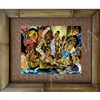 """Aloha....Universal Word"" Matson Menu, Eugene Savage Classic Hawaiian Art, Circa 1940's. Matted in a Natural Grass Mat and framed in a handmade Natural Bamboo Frame. Bamboo Frame is hand sanded and stained twice. Handmade in the USA. Dimensions;..."