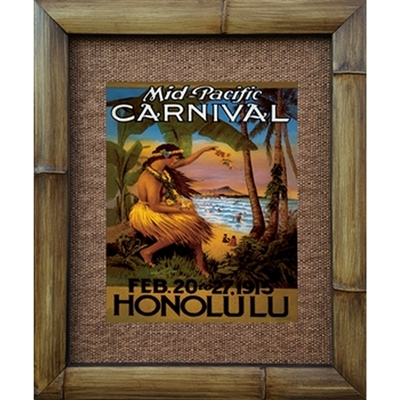 """Mid Pacific Carnival Circa 1915 Beautiful Hawaiian Art Print, This has it all, Hula Girl, Diamondhead, Surfers, Dates etc. A WOW print. Matted in a Natural Grass Mat and framed in a handmade Natural Bamboo Frame. Bamboo Frame is hand sanded and..."