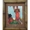 """Hawaiian Night"" Matson Menu, John Kelly Classic Hawaiian Art, Circa 1940's. Matted in a Natural Grass Mat and framed in a handmade Natural Bamboo Frame. Bamboo Frame is hand sanded and stained twice. Handmade in the USA. Dimensions; Print 11"" x 14"",..."
