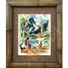 "Cooks Bay, Moorea, Tahiti"" Beautiful Tahitian Print, Matson Menu. Circa 1940's. Matted in a Natural Grass Mat and framed in a handmade Natural Bamboo Frame. Bamboo Frame is hand sanded and stained twice. Handmade in the USA. Dimensions; Print 11"" x..."