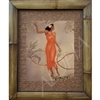 """Hula Girl in Orange"" Eric Gill Classic Hawaiian Art, Circa 1940's. Matted in a Natural Grass Mat and framed in a handmade Natural Bamboo Frame. Bamboo Frame is hand sanded and stained twice. Handmade in the USA. Dimensions; Print 11"" x 14"", Natural..."