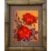 """Double Red Hibiscus"", Floral Art Print. Beautiful vintage watercolor by Hale Pua, circa 1940's Hawaii. Two red Hibiscus flowers along with a Hibiscus bud in perfect formation. Vintage Hawaiiana. Matted in a Natural Grass Mat and framed in a handmade..."