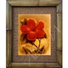 """Red Hibiscus"" Floral Art Print. Beautiful vintage watercolor by Ted Mundorff, circa 1940's Hawaii. Red hibiscus flower with Diamond Head in the lower background. Vintage Hawaiiana. Matted in a Natural Grass Mat and framed in a handmade Natural..."
