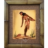 """Flower Girl"" Eric Gill, Classic Hawaiian Art, Circa 1940's. Matted in a Natural Grass Mat and framed in a handmade Natural Bamboo Frame. Bamboo Frame is hand sanded and stained twice. Handmade in the USA. Dimensions; Print 11"" x 14"", Natural Grass..."