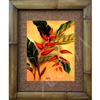 """Hanging Heliconia"", Floral Art Print. Beautiful vintage watercolor by Hale Pua, circa 1940's Hawaii. Spectacular watercolor, rare to see this flower as a watercolor. Vintage Hawaiiana. Matted in a Natural Grass Mat and framed in a handmade Natural..."