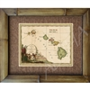 """Sandwich Islands"" Circa 1798. Cool pronunciation of Islands; Woahoo (Oahu). Matted in a Natural Grass Mat and framed in a handmade Natural Bamboo Frame. Bamboo Frame is hand sanded and stained twice. Handmade in the USA. Dimensions; Print 11"" x..."