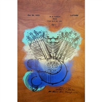 Harley Davidson Engine Patent 1919. Cool hand pulled silkscreen of the original patent filing by W.S. Harley for a motorcyle engine. Acrylic colors are Yellow, Mint Green and Aqua Blue over wood grain. Handpulled silkscreen on Birch wood panel....