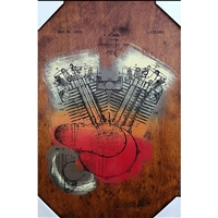 Harley Davidson Engine Patent 1919. Cool hand pulled silkscreen of the original patent filing by W.S. Harley for a motorcyle engine. Acrylic colors are Yellow, Red and Rust over wood grain. Handpulled silkscreen on Birch wood panel. Original, signed...