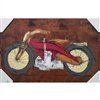 Harley Davidson Patent 1924. Cool hand pulled silkscreen of the original patent filing by W.S. Harley for a motorcyle. Acrylic colors are Yellow, Red and Rust over wood grain. Handpulled silkscreen on Birch wood panel. Original, signed by the artist....