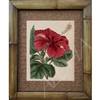 "Vintage Red Hibiscus Flower. Circa 1800's. Vintage Hawaiiana. Matted in a Natural Grass Mat and framed in a handmade Natural Bamboo Frame. Bamboo Frame is hand sanded and stained twice. Made in California, USA. Dimensions; Print 11"" x 14"", Natural..."